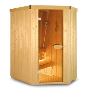 Финская сауна 3-х местная угловая с эл.печью-каменкой, ширина 1,6м, глубина 1,1м