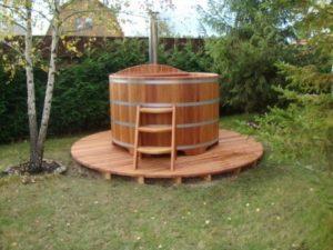 Купель с подогревом воды на 1,6 м из кедра с внутренней печкой